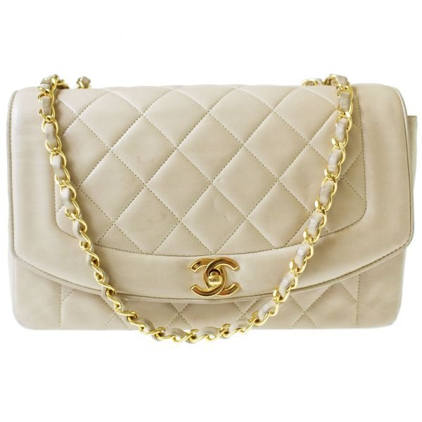Chanel Quilted Matorasse Shoulder Bag Leather Beige