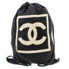 Authentic Chanel CC Backpack Canvas cotton Black