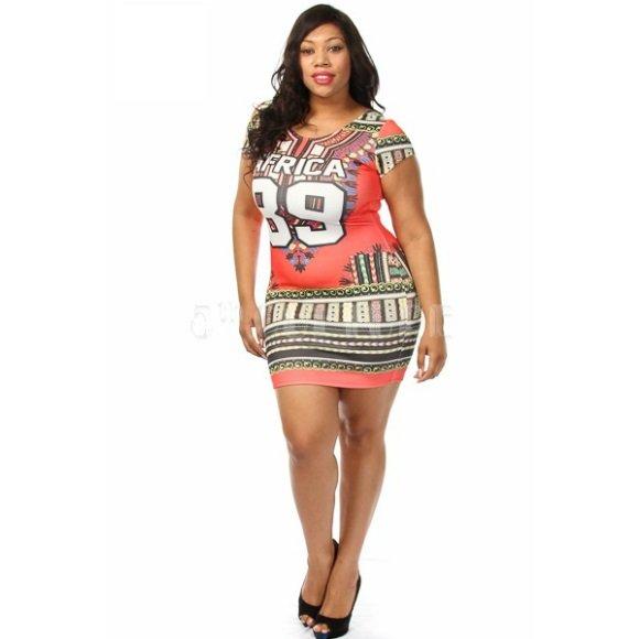 "Short Sleeve ""Africa 89"" Printed Ethnic Tribal Bodycon Mini Dress (3XL)"