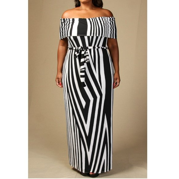Plus Size Off The Shoulder Striped Waist Tie Maxi Dress (2XL)