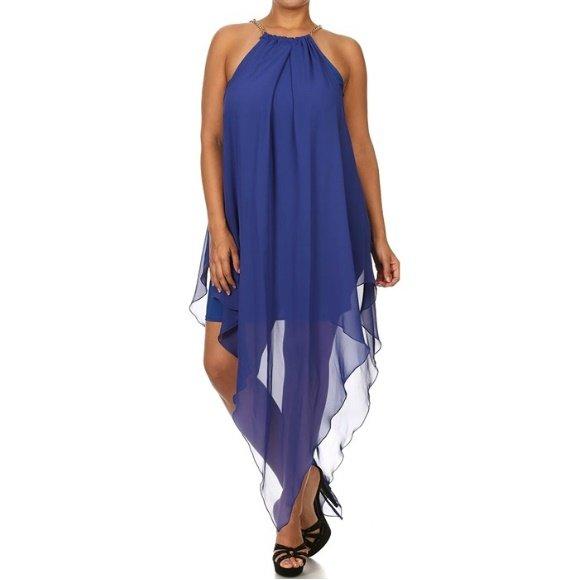 Plus Size Sleeveless Tear Drop Chiffon Dress Royal Blue (3XL)