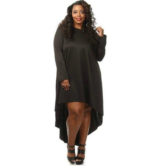 Plus Size Long Sleeve High Low Dress Black Size (3XL)
