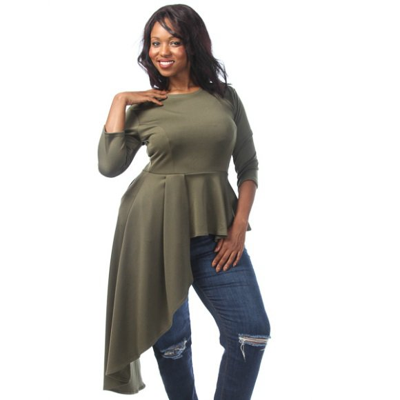 Plus Size 3/4 Sleeve Side Cascade Peplum Top Olive (3XL)