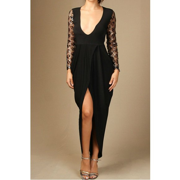Sequin Mesh Long Sleeve Front Slit Tulip Dress Black (M)