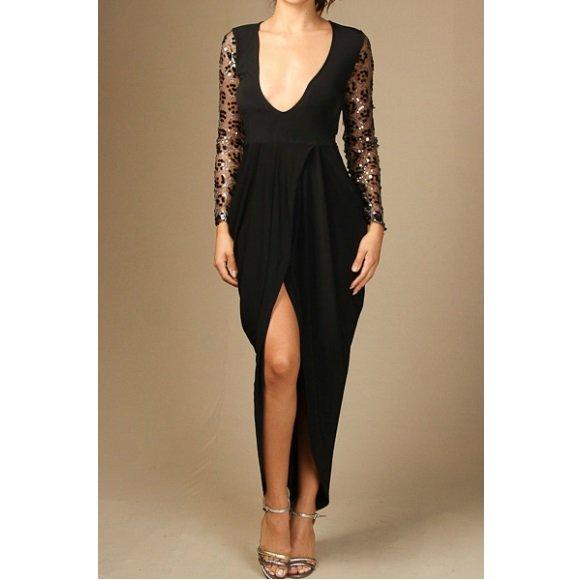 Sequin Mesh Long Sleeve Front Slit Tulip Dress Black (L)
