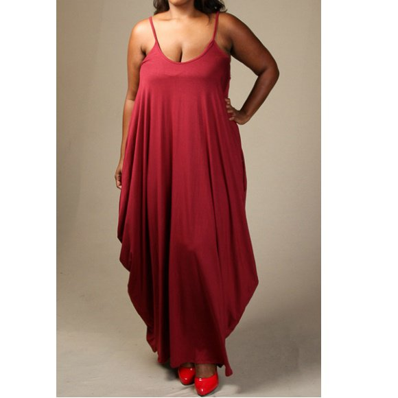 Plus Size Sleeveless Tank Jersey Maxi Dress with Pockets Burgundy (3XL,)
