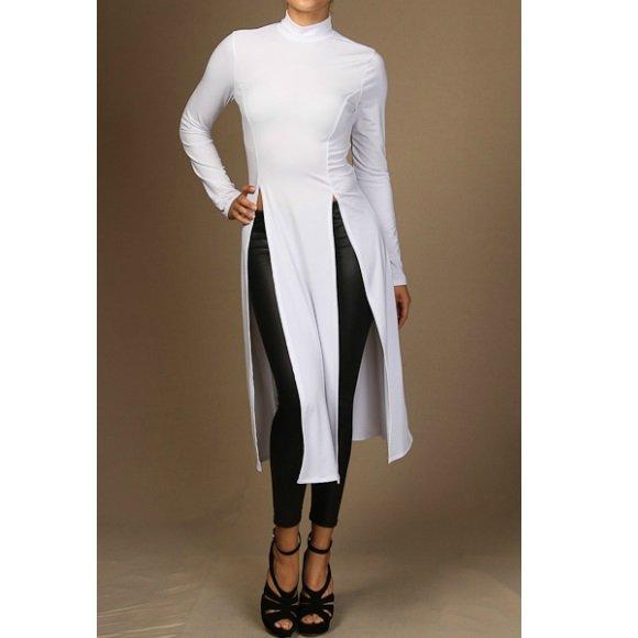 Mock Neck Long Sleeve Double Slit Top White (L)