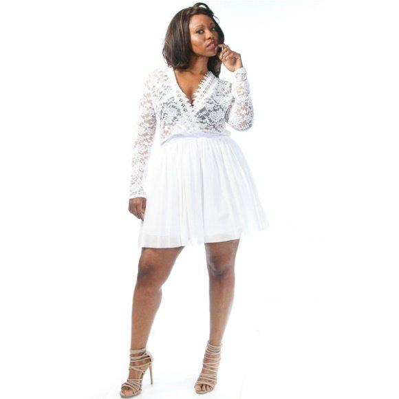 Plus Size V-Neck Floral Lace Tulle A-Line Mini Dress White (3XL)