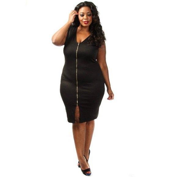 Plus Size Sleeveless Front Zip Bodycon Midi Dress (1XL)