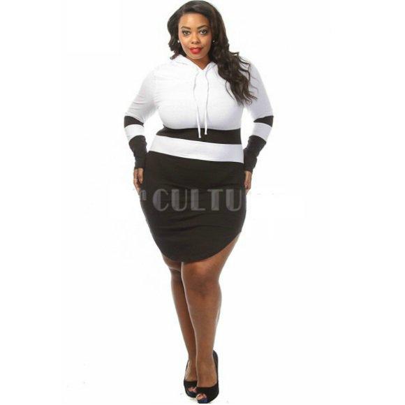 Plus Size Color Block Long Sleeve Hooded Curved Hem Mini Dress (2XL)