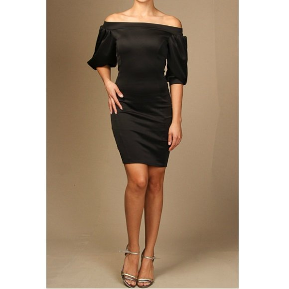 Off The Shoulder Puffy Sleeve Bodycon Mini Dress Black (M)
