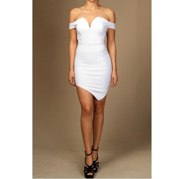 Off The Shoulder Sweetheart Asymmetrical Bodycon Mini Dress White (M)