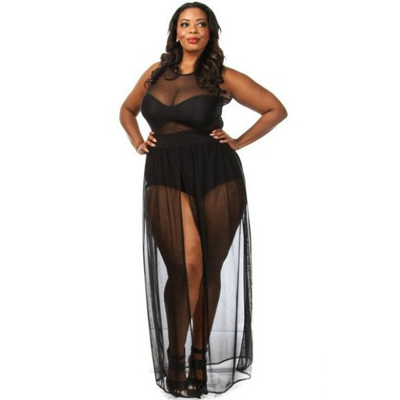 Plus Size Sleeveless Bodysuit w/ Chiffon Front Slit Maxi Dress Black (3XL)