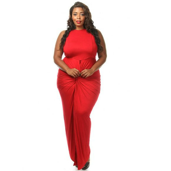 Plus Size Sleeveless Front Twist Slit Maxi Dress Red (Size 2XL)