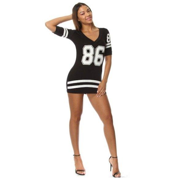 86 Print Short Sleeve Jersey Style Bodycon Mini Dress Black (L)