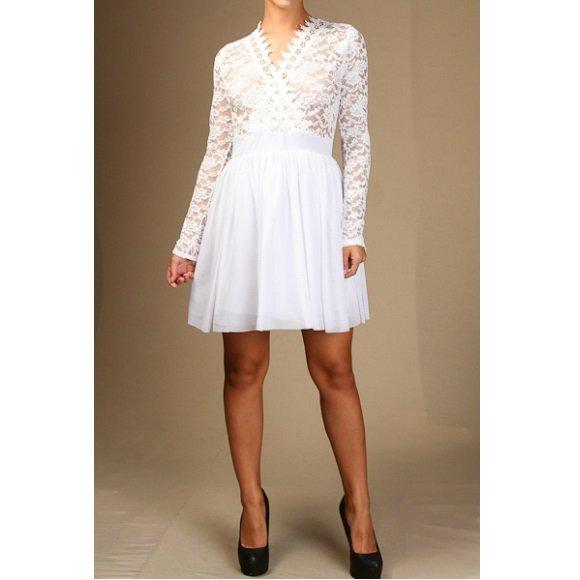 Long Sleeve V-Neck Floral Lace Tulle A-Line Mini Dress (L)