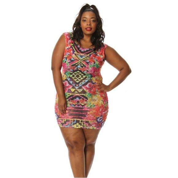 Plus Size Sleeveless Tribal Floral Print Lace Mini Dress (3XL)