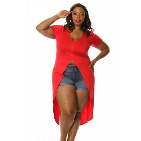 Plus Size Short Sleeve High Low Fashion Top (2XL)
