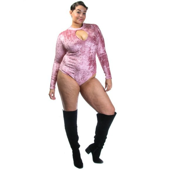 Plus Size Long Sleeve Mock Neck Keyhole Velvet Bodysuit Mauve (1XL)