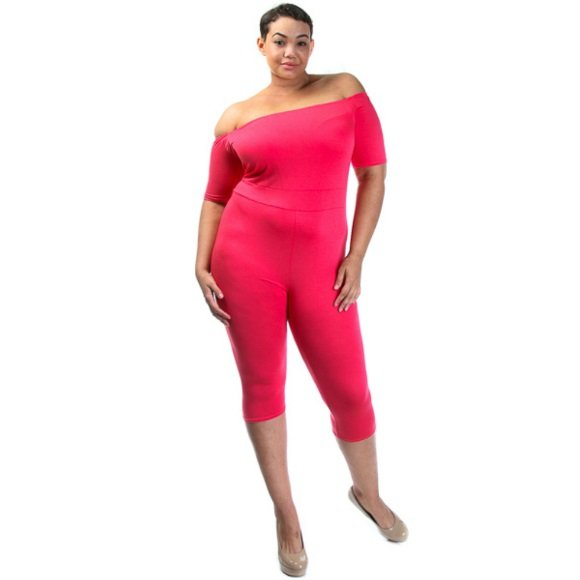 Plus Size Off The Shoulder 3/4 Sleeve Capri Catsuit Jumpsuit Coral  (2XL)