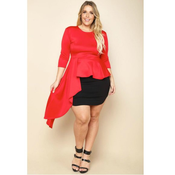 Plus Size 3/4 Sleeve Side Cascade Peplum Top Red (2XL)