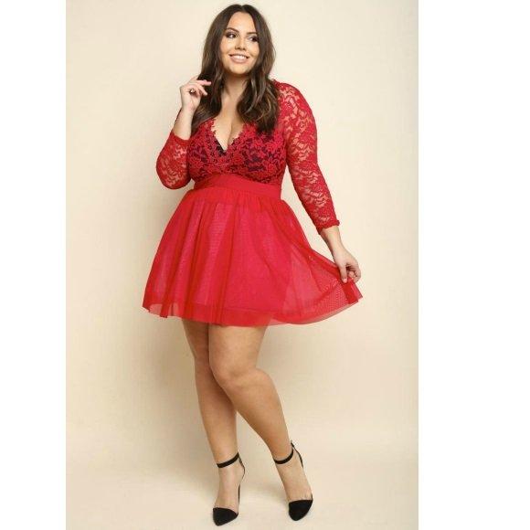 Plus Size V-Neck Floral Lace Tulle A-Line Mini Dress Red (2XL)