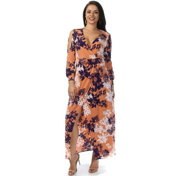 Plus Size Floral Print Overlay Maxi Dress with Cut Out Sleeves (3XL)