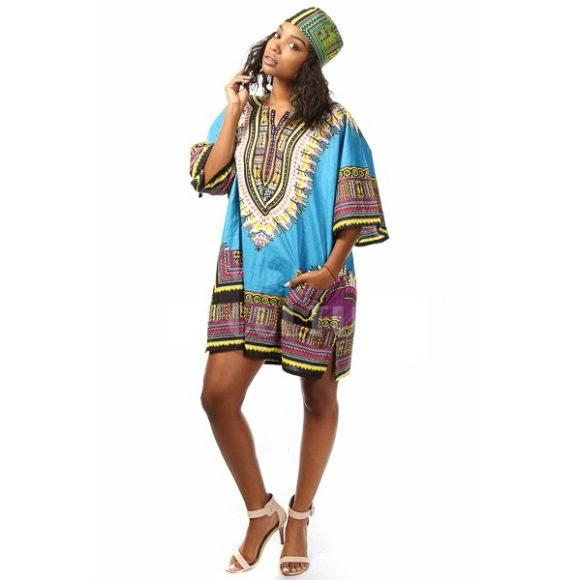 Traditional African Dashiki Tribal Print Dress with Matching Hat Turquoise