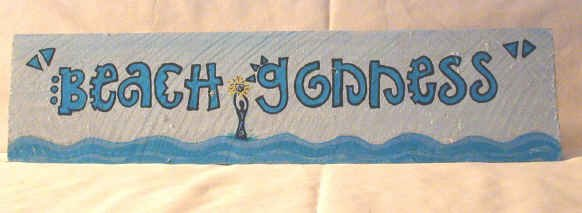 Beach Goddess--A Rustic Picket Handpainted Sign