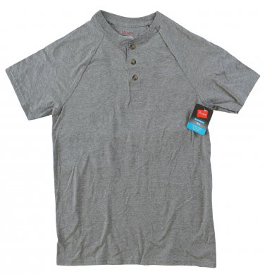Mens Jersey Henley Tee - Grey Large