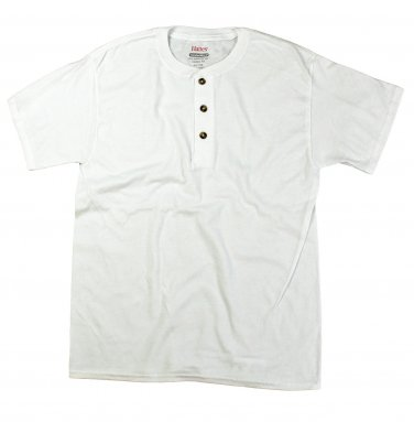 Mens Jersey Henley Tee - White Large