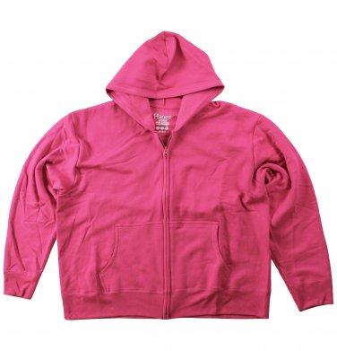 Womens Fleece Zipper Hoodie Pink XXLarge