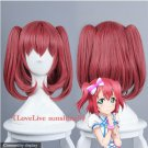 High Quality Short 35CM Red Straight Ruby Kurosawa Wig LoveLive