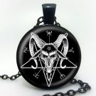 Baphomet Inverted Pentagram necklace goat head pendant glass dome Baphomet Jewelry