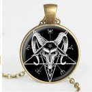 Baphomet Inverted Pentagram necklace goat head pendant glass dome Baphomet Jewelry