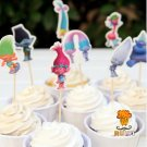 72pcs Cartoon Trolls Poppy DJ Suki Guy Diamond Branch candy bar cupcake toppers pick