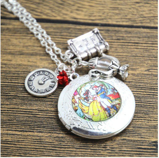 12pcs/lot Beauty and the Beast Stained Glass Locket Necklace
