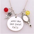 "Beauty and Beast Necklace""until the last Petal Falls""Hand Stamped Letter Pendant with Rose"
