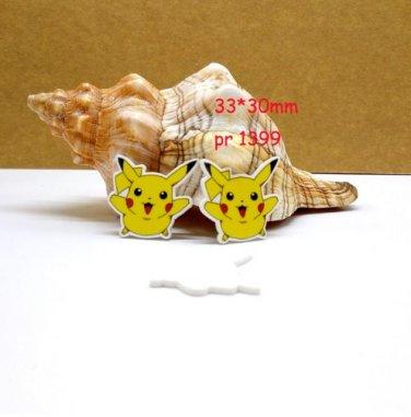 30 pcs Pikachu Pokemon planar resin ribbon