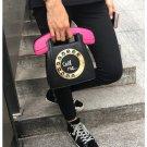 fashion phone shape letters ladies pu leather handbag chain shoulder bag flap crossbody Black
