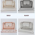 Unique fashion design personality hollow metal cages party clutch evening bag shoulder bag Sliver
