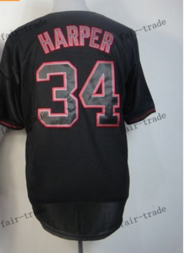 Washington Nationals #34 Bryce Harper 2015 Baseball Jersey Rugby Jerseys black style 2