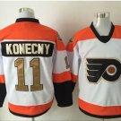 50th Anniversary Philadelphia Flyers Jerseys #11 Travis Konecny Winter Classic Gold Throwback Hockey