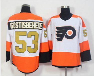 50th Anniversary Philadelphia Flyers Jerseys 53 Shayne Gostisbehere Classic Gold Throwback Hockey