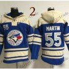 Toronto Blue Jays #55 russell martin Baseball Hooded Stitched Old Time Hoodies Sweatshirt Jerseys