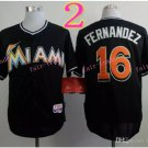 Jose Fernandez Jersey 16# Miami Marlins Cool Base Uniforms black 2015 style 1
