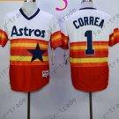 Hot Top Quality Jerseys Houston Astrosl #1 Carlos Correa  Rainbow Orange Jersey