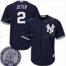 With Retirement Patch #2 Derek Jeter 2017 New York Yankees Men All Stitched Baseball Jersey blue
