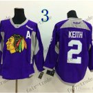 Chicago Blackhawks Practice #2 Duncan Keith Training Purple  Stitched Hockey Jerseys