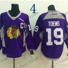 Chicago Blackhawks Practice  #19 Janathan Toews Training Purple  Stitched Hockey Jerseys